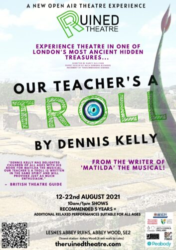 Poster advertising the play my teacher is a troll