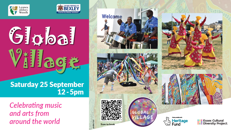 Global Village bhangra dancers maypole dancing and drummers