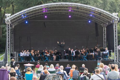 view of stage and audience at Lesnes Abbey Proms