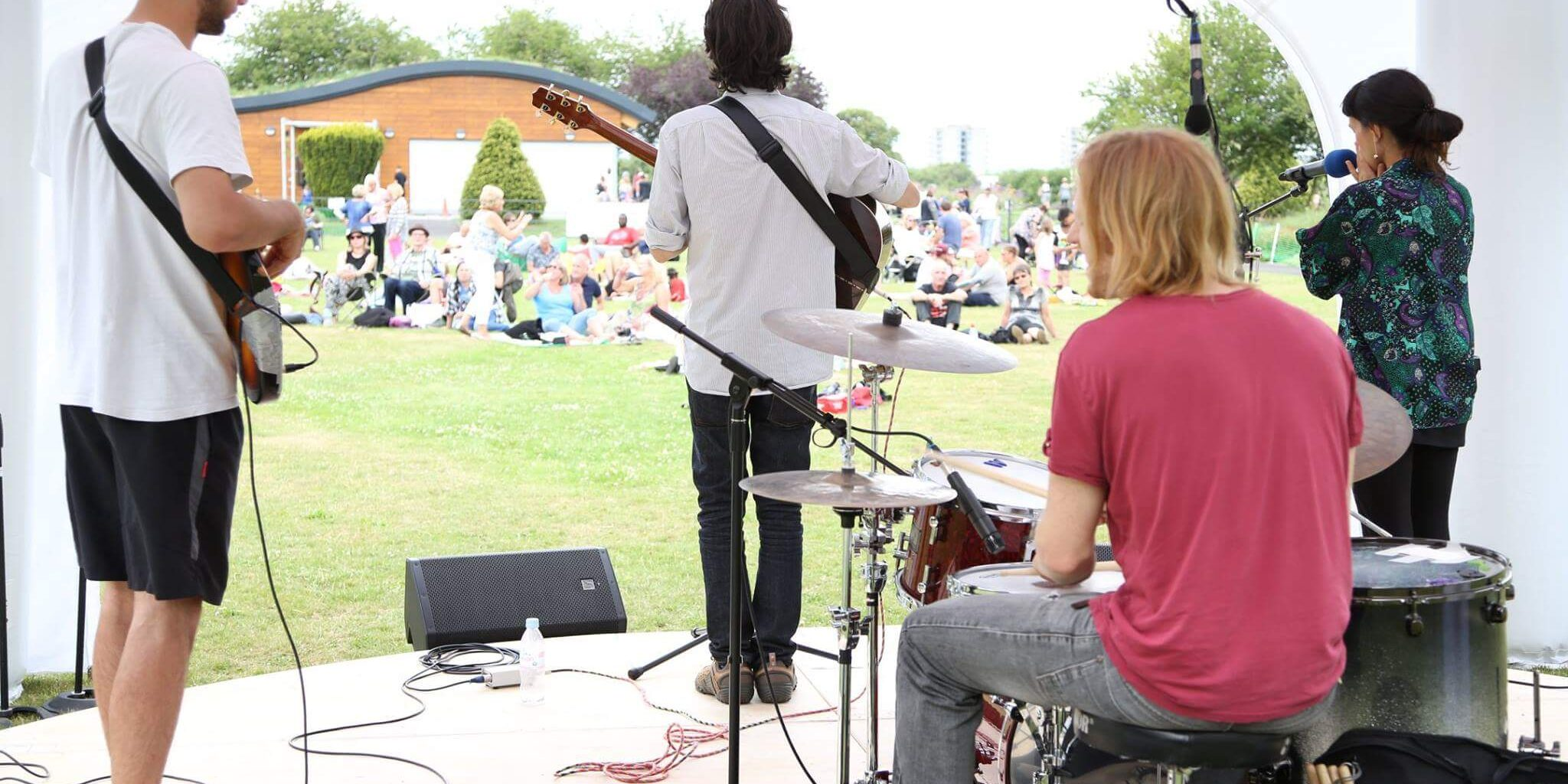 Band playing at outdoor event