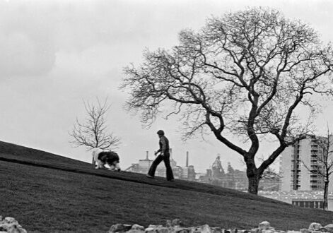 Old black and white photo of man walking dog, with industry and high-rise flats in the background