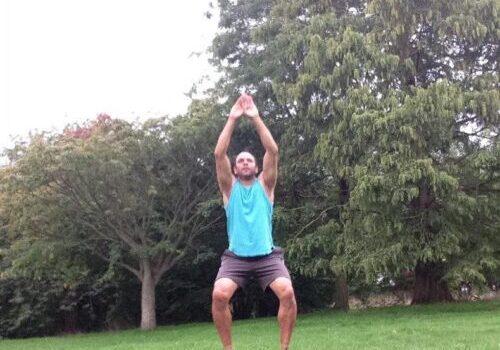 exercising at Lesnes avvey woods park