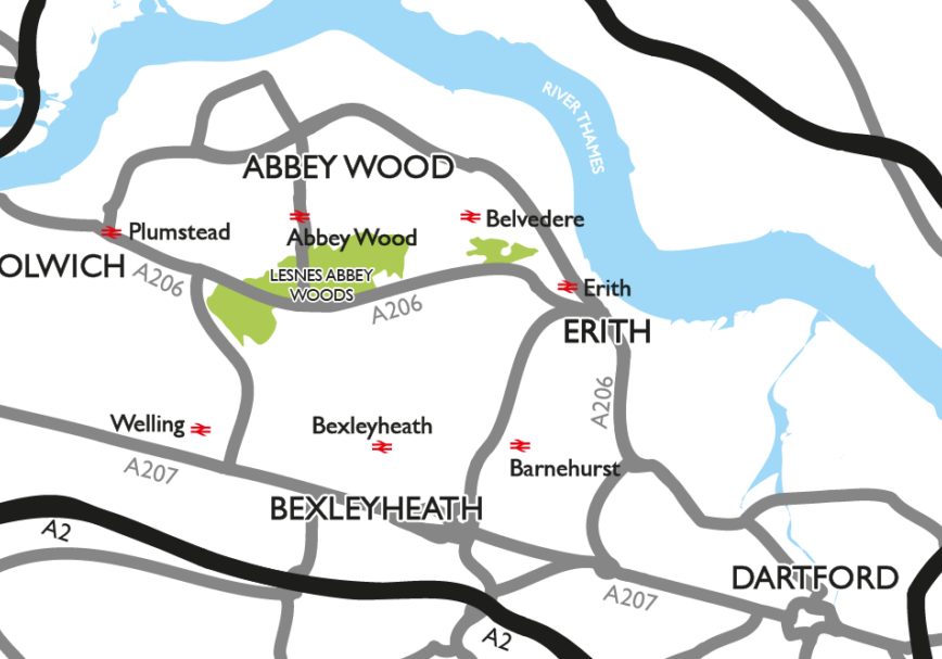Location map of Lesnes Abbey Woods