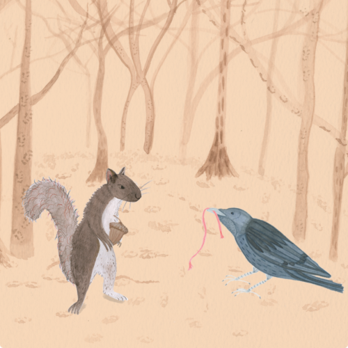 Illustration of wildlife in a woodland setting