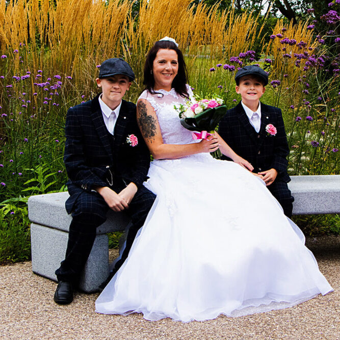 Bride and guests in the garden