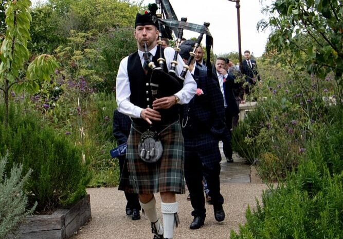 Bagpipes player at wedding