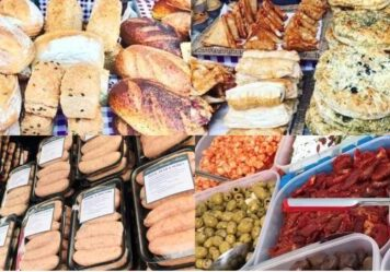 image of sausages artisan bread and other foods that can be bought at the Farmers Market